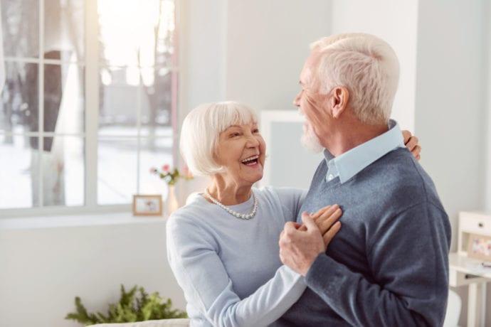 Happy senior couple dancing
